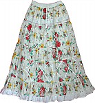 White Floral Peasant Skirt
