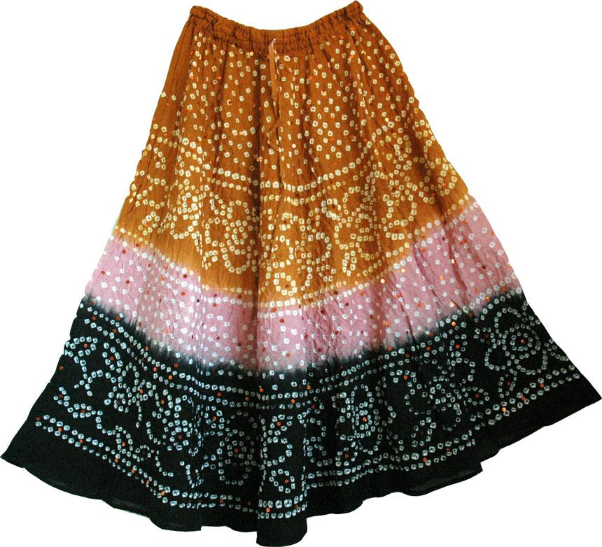 Summer Party Skirt, Hawaiian Tan Long Tie Dye Skirt