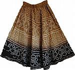 Brown Long Skirt in Tie Dye