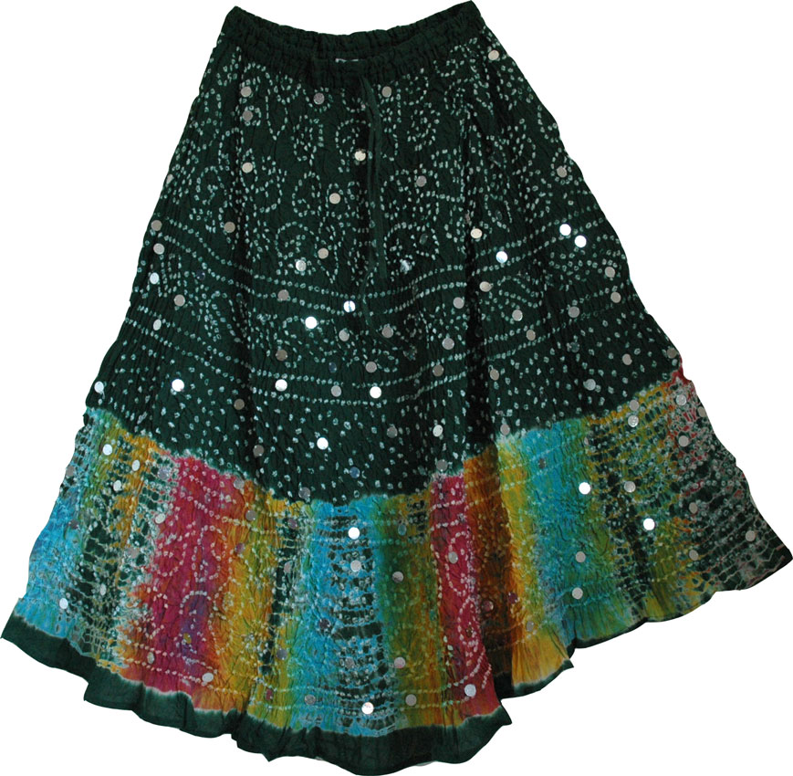 Plantation Green Cotton Boho Skirt