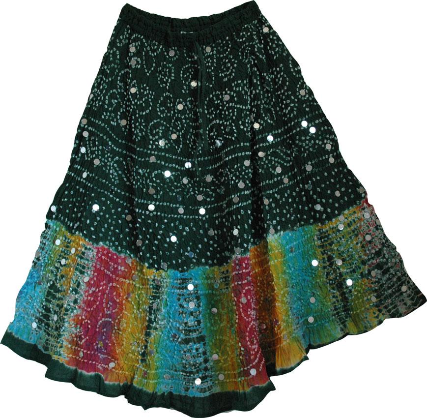 Plantation Green Cotton Boho Skirt