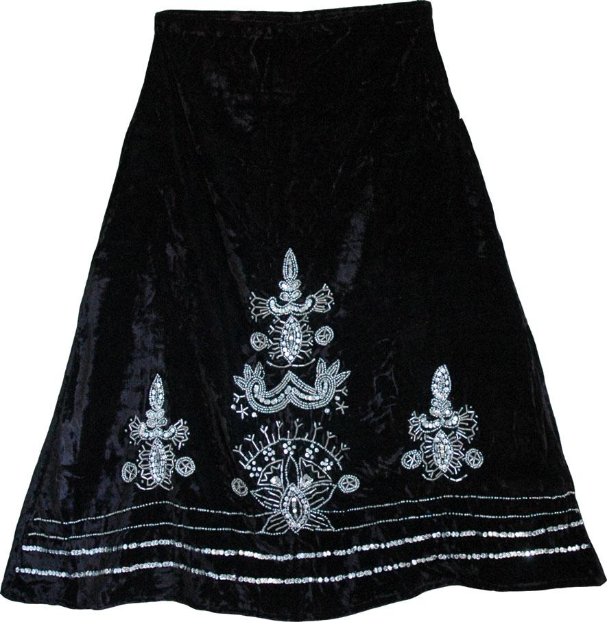 Black Velvet Skirt, Black Vintage Velvet Skirt