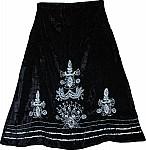Black Vintage Velvet Skirt