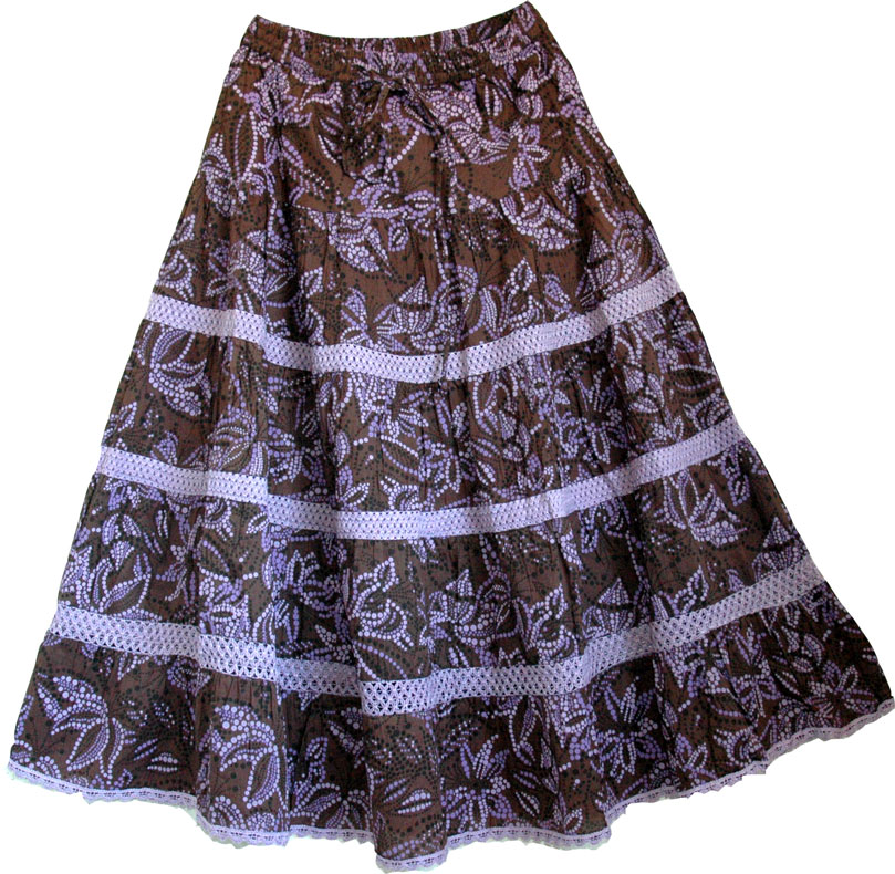 Bohemian Long Cotton Laced Skirt, Cocoa Brown Cotton Summer Skirt