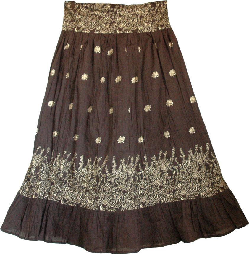 Brown golden block print cotton summer skirt, Birch Golden Bohemian Skirt