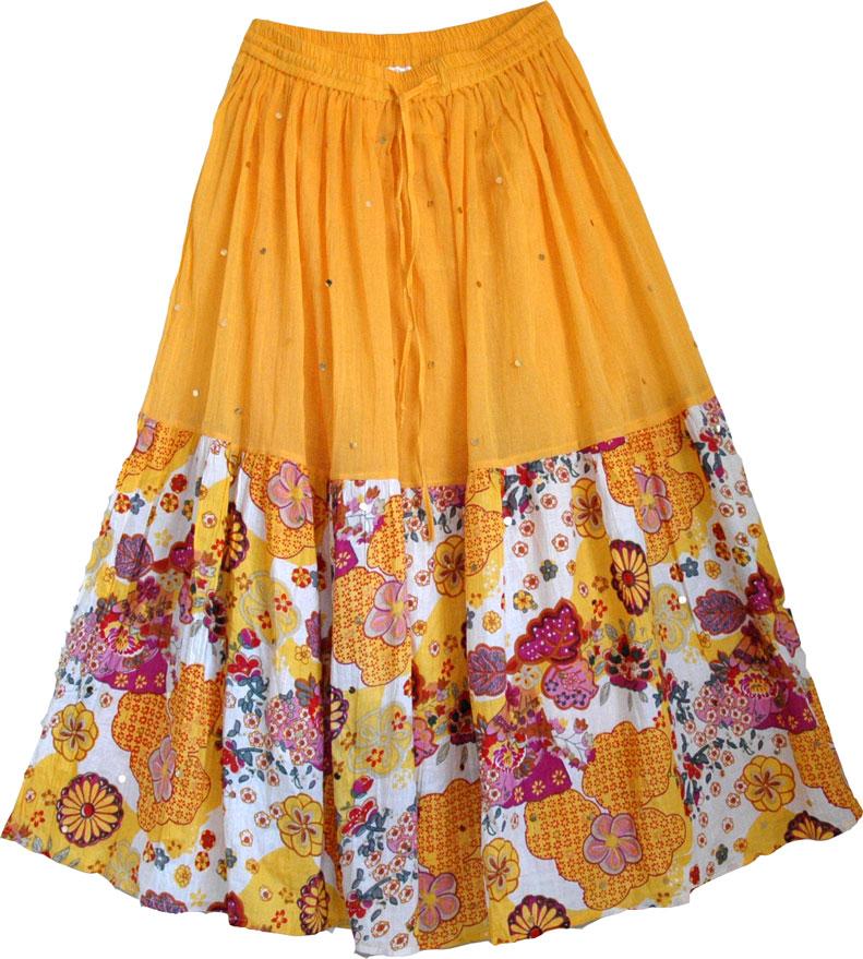 Womens yellow floral skirt, Golden Grassland Spring Skirt