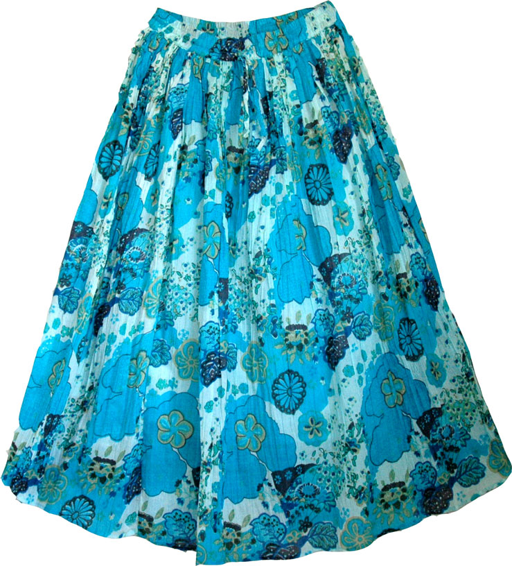 Cotton Fabric Long Skirt With Floral Print