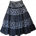 Black White  Floral Cotton Boho Skirt