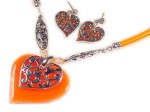 Orange Silver Filigree Heart Pendant Set