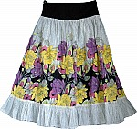 Floral Cotton Knee Length Skirt