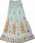 White Summer Womens Cotton Long Skirt