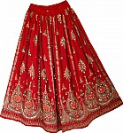 Milano Red Sequin Long Skirt