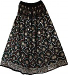 Long Black Sequin Evening Skirt