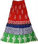 Batik Print  Cotton Red Skirt