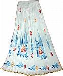 Floral White Long Skirt