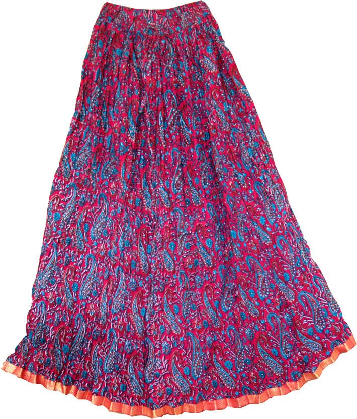 Crinkle long skirt in Crimson , Natural Dyes Long Skirt