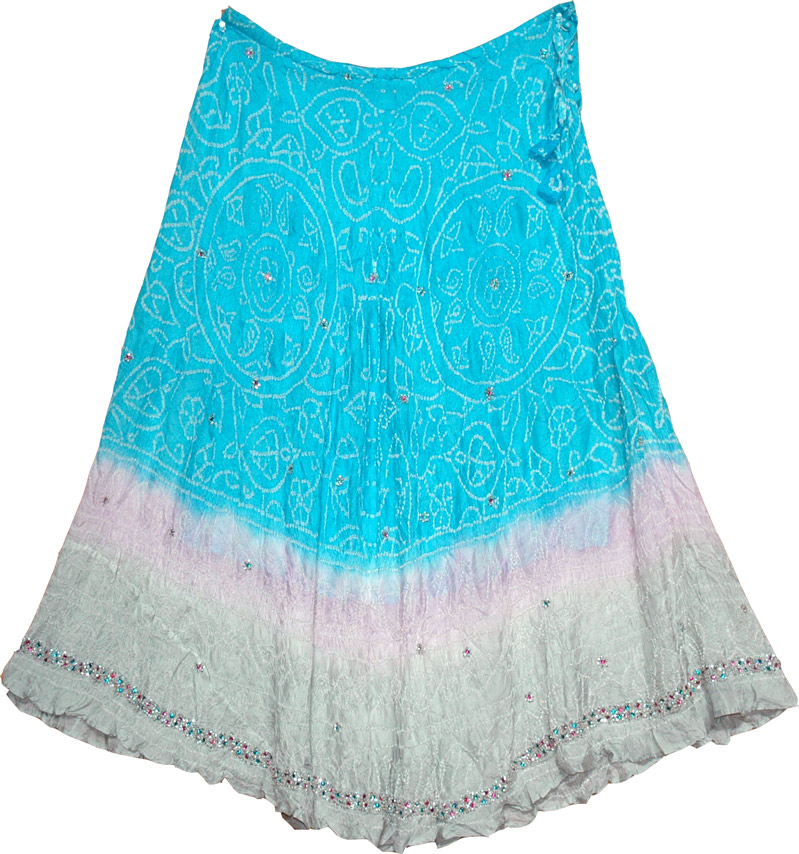 Ethnic tie-dye turquoise long silk skirt, Bright Turquoise Tie Dye Pure Silk Skirt