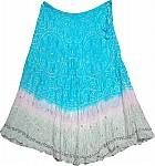 Bright Turquoise Tie Dye Silk Skirt