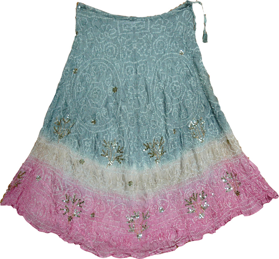 Ethnic shaded tie-dye silk skirt, Cascade Silk Skirt with Sequins