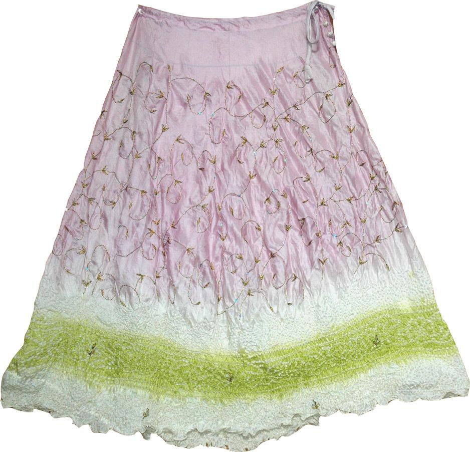 Gypsy boho long skirt in silk, Lily Gypsy Silk Long Skirt