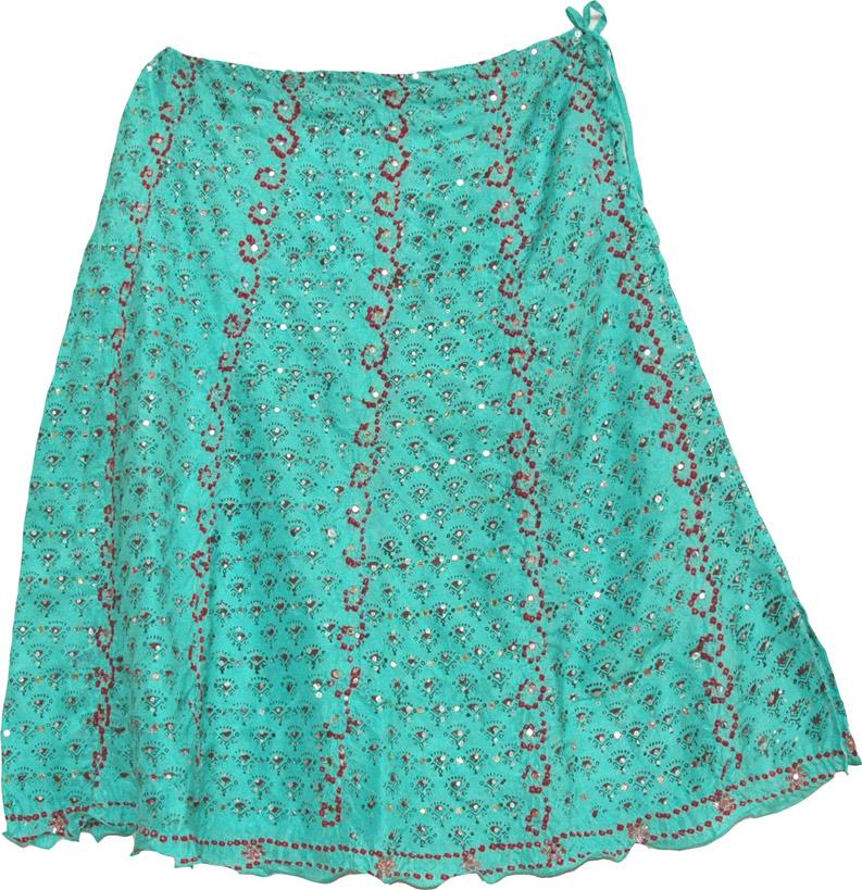 Dancing Boho Fashion Silk Skirt, Puerto Rico Festive Silk Skirt