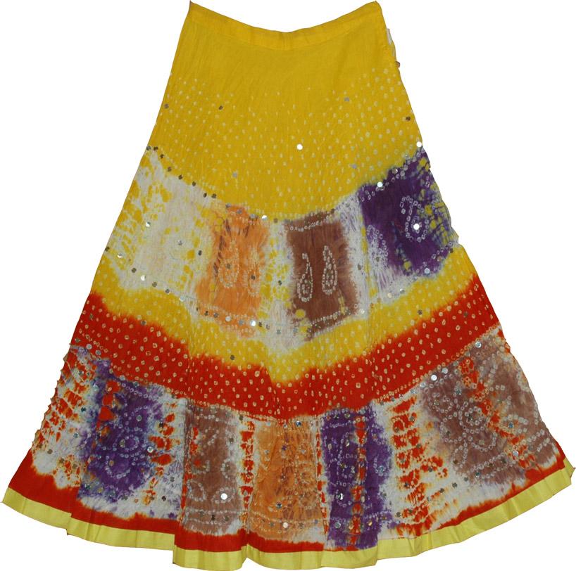 Multicolor Tie Dye Cotton Skirt, Hokey Pokey Ethnic Cotton Skirt