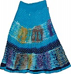 Eastern Blue Ethnic Cotton Skirt