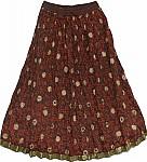 Chocolate Red Ethnic Skirt
