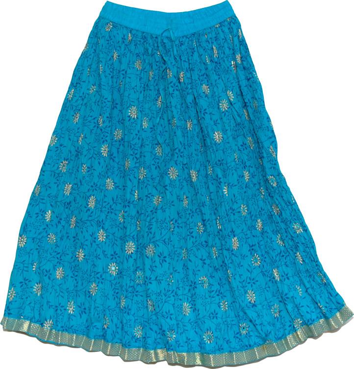 Summer Short Skirt in Chill Blue , Chilled Blue Short Crinkle Skirt