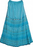 Fountain Blue Sequin Long Skirt