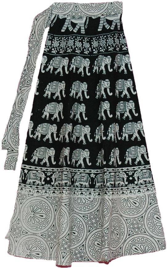 Black White Long Wrap Around Skirt   Clothing   Wrap-Around-Skirt ...