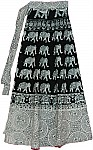 Black White Long Wrap Around Skirt