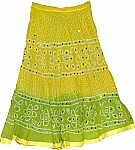 Yellow Green Cotton Sequin Skirt
