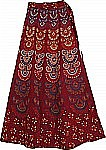 Block Print Merlot Long Wrap Skirt