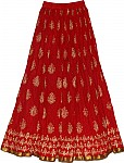 Red Long Skirt in Cotton Crinkle