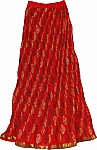 Red Cotton Long Skirt