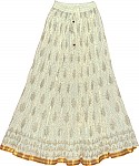 Off White Ethnic Long Skirt