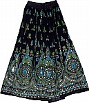 Sequin Skirt with Green and Turquoise
