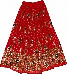 Red Milano Sequin Skirt