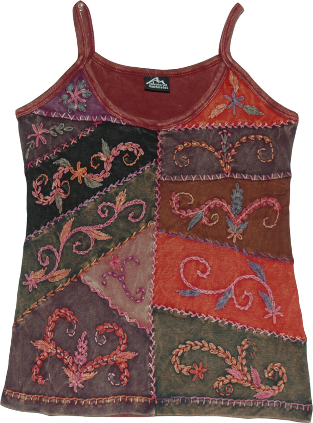 Embroidered Fashion Top, Sleeveless Embroidered Summer Top