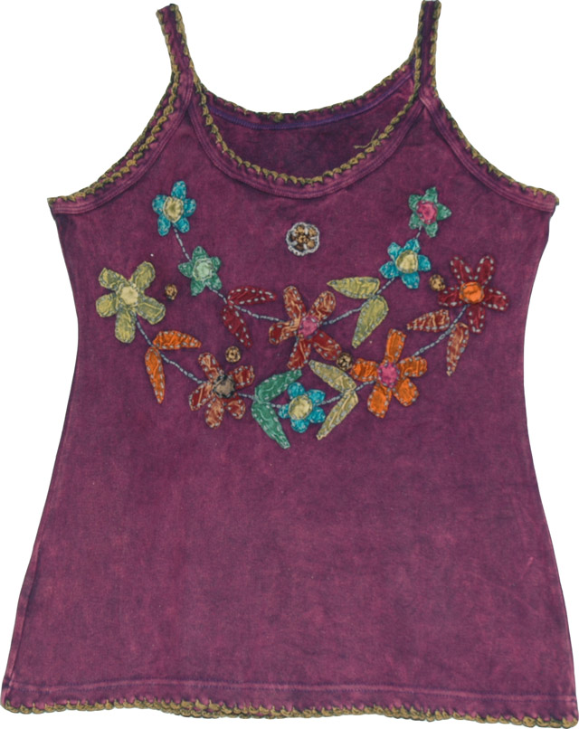 Strappy summer floral top, Purple Finn Summer Top With Applique