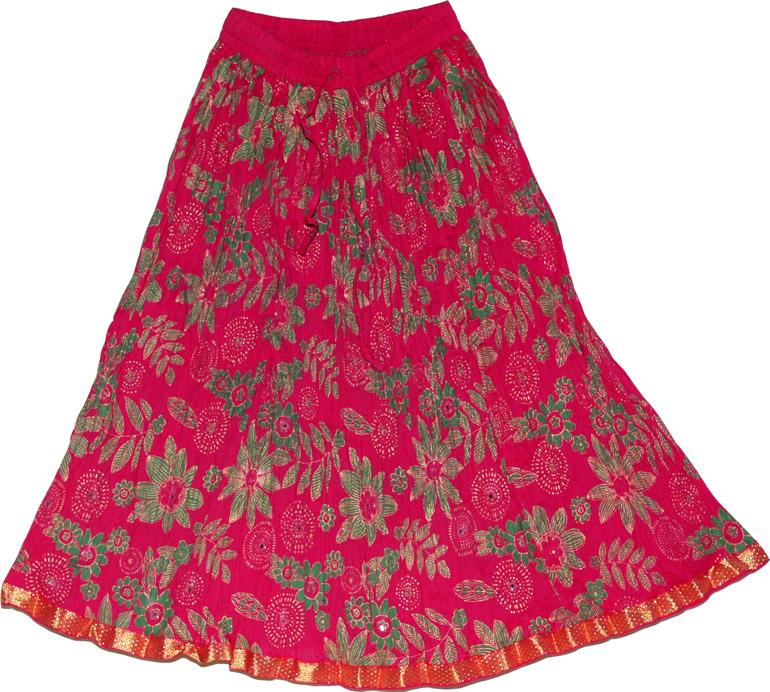 Summer Short Skirt in Crimson, Crimson Short Crinkle Skirt