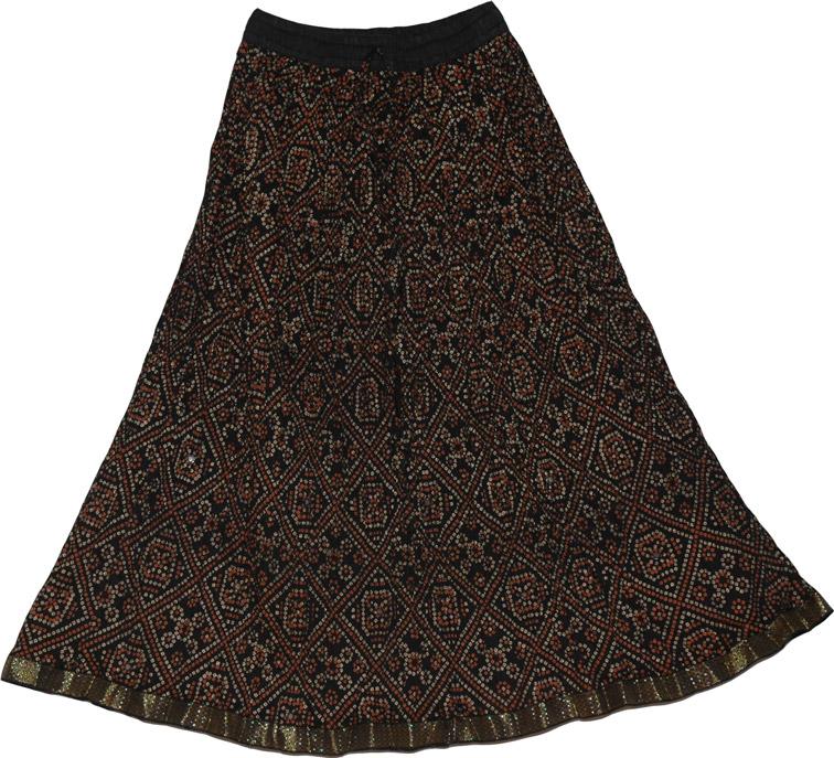 Crinkle Summer Short Skirt with Mirrors, Summer Crinkle Short Skirt