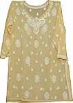 Light Yellow Embroidered Cotton Tunic