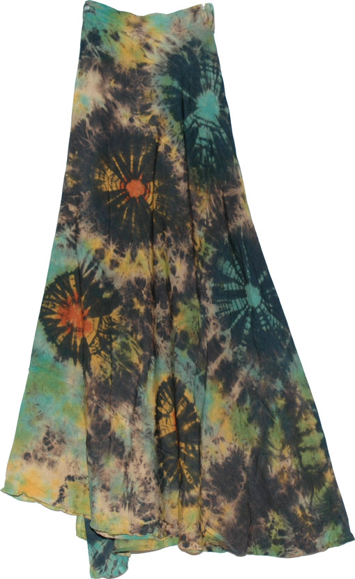 Tie Dye Wrap Skirt In Dark Green Clothing Tie Dye