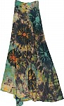 Tie Dye Wrap Skirt In Dark Green