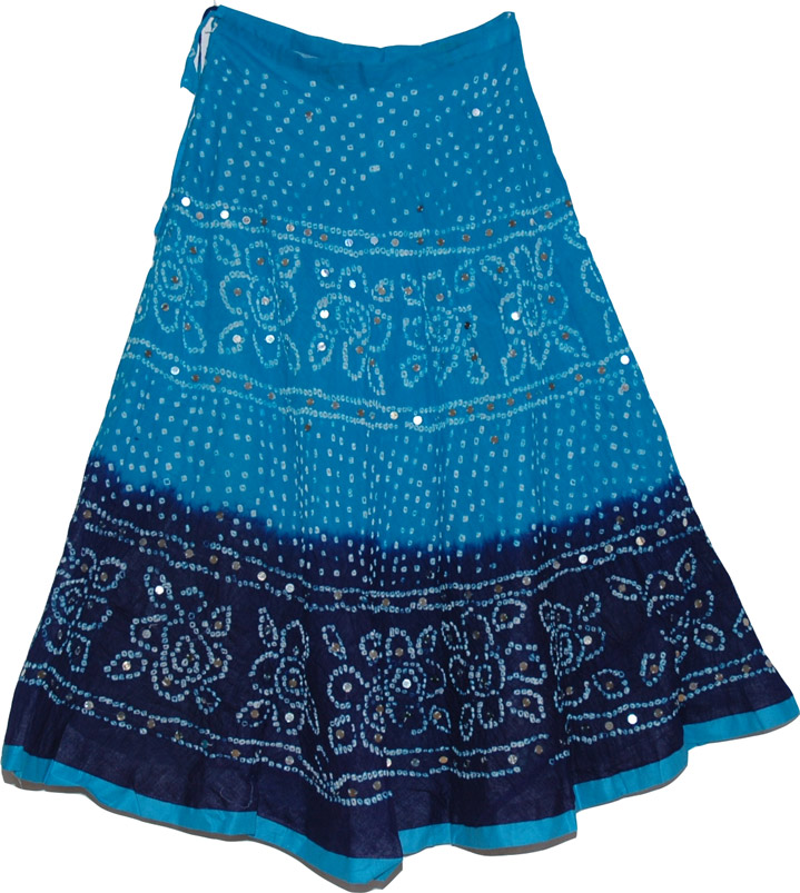 blue tie dye cotton skirt clearance sale on bags