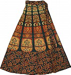 Block Print  Long Wrap Skirt