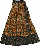 Long Wrap Skirt Block Print