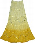 Golden Sand Sequin Long Skirt